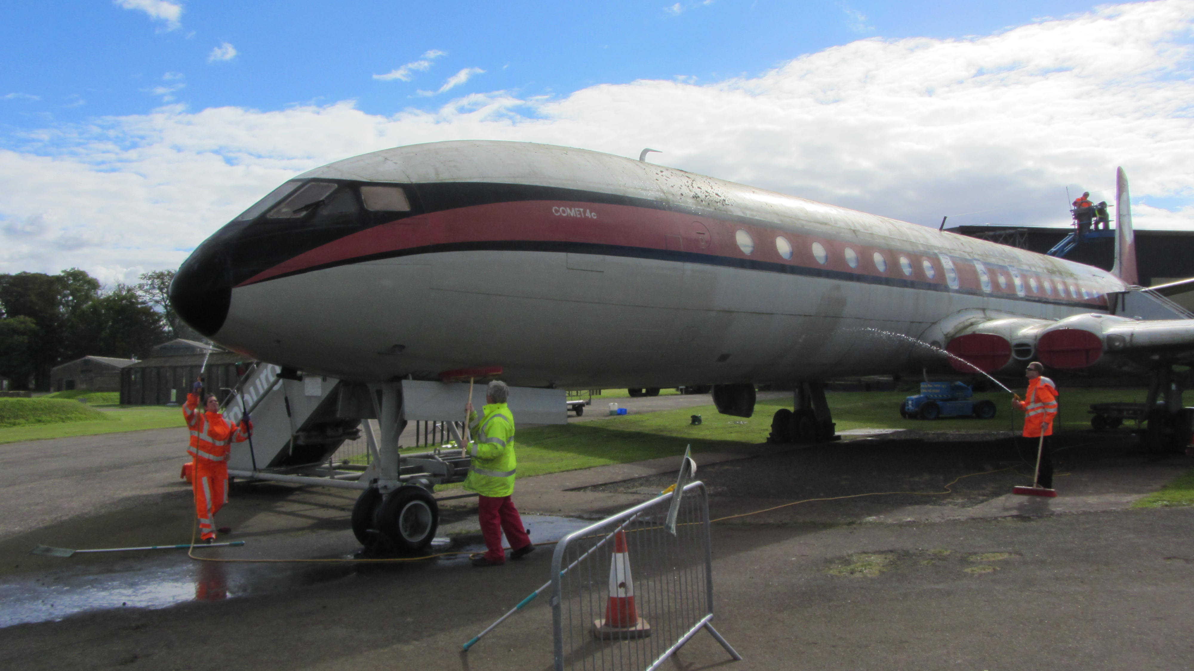 The Comet aircraft being cleaned at National Museum of Flight