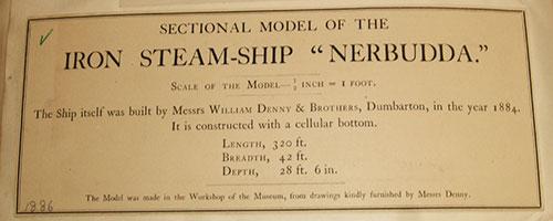 Museum label 1886