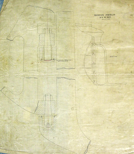 One of the ship plans provided by Wm. Denny & Brother Ltd, on which the model was based