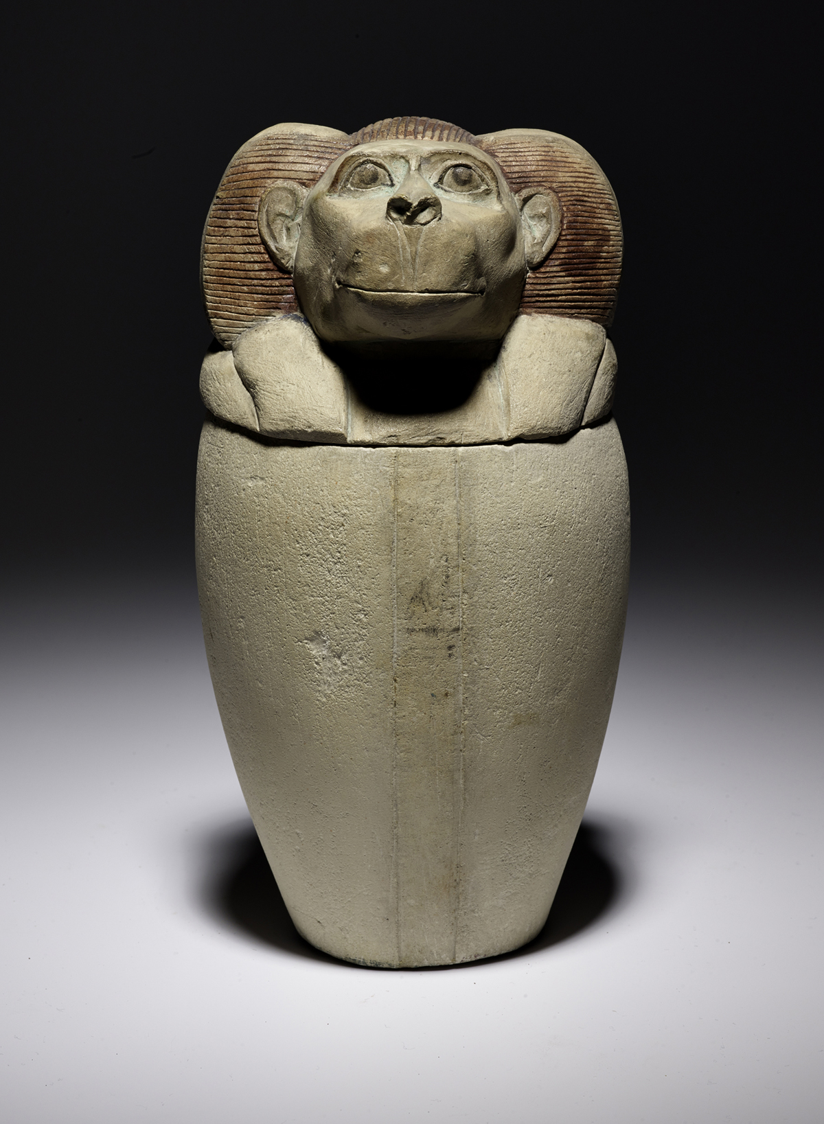 A.1885.135 - Canopic jar in white limestone, oviform in shape with a flat base: Ancient Egyptian, New Kingdom
