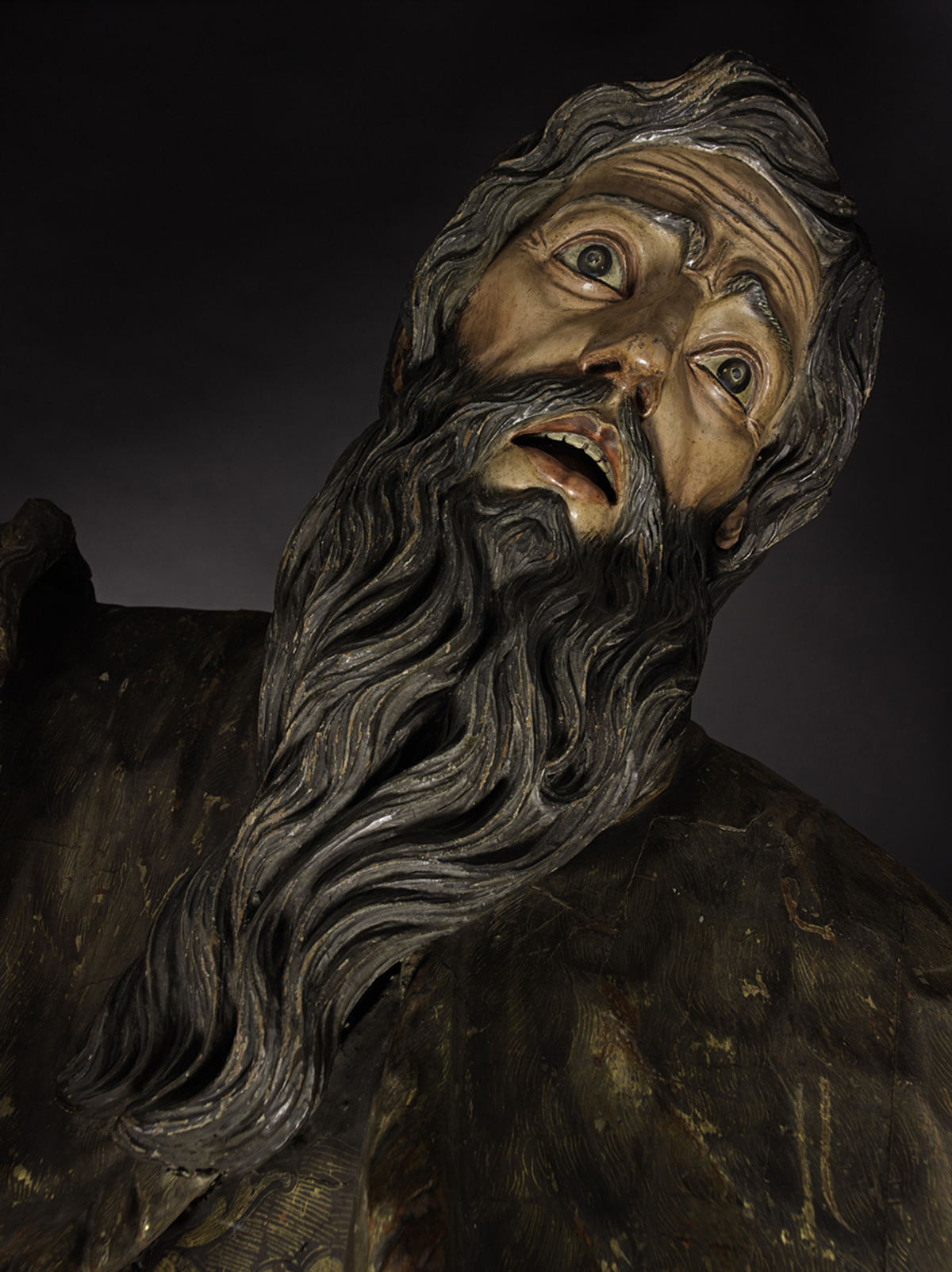 A.1974.169 - Half-length statue of the prophet Elijah in gilded and painted wood: Spanish, possibly Valladolid, early 17th century.