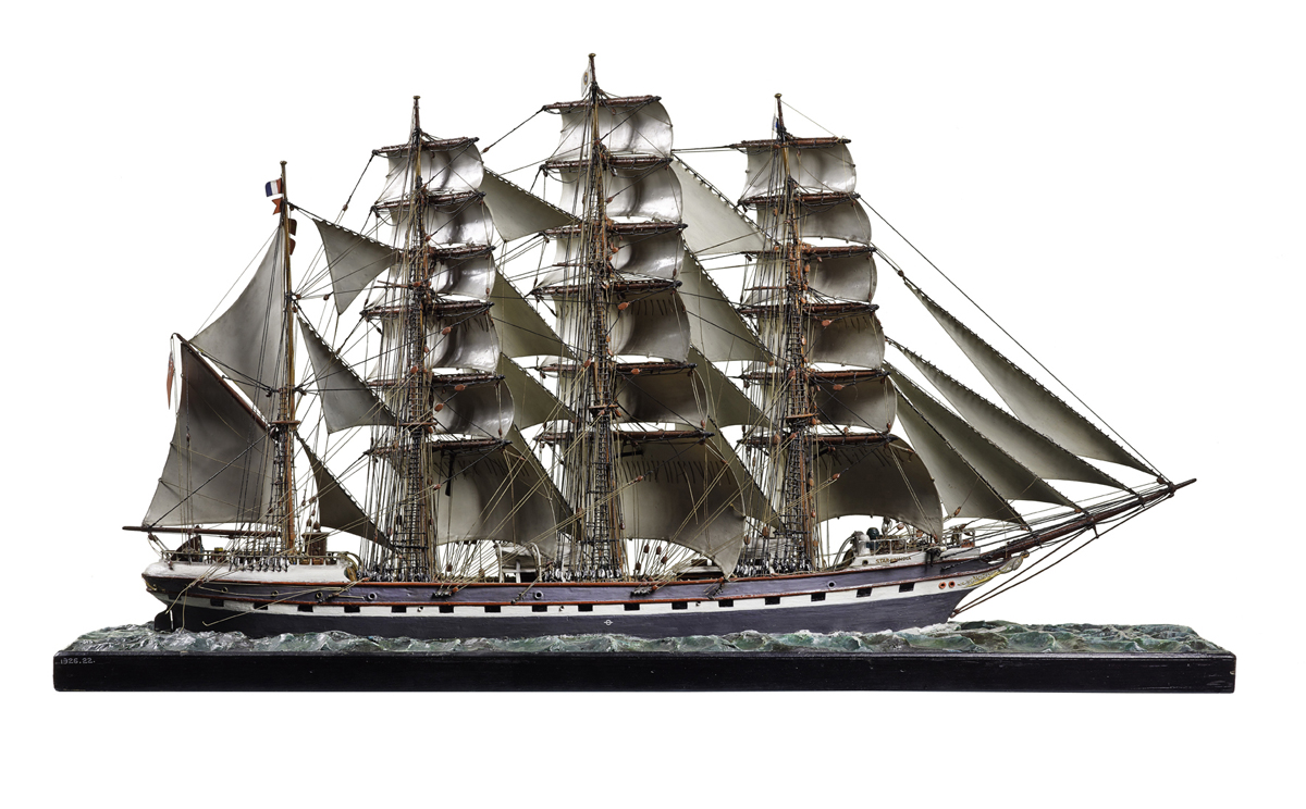 T.1926.22 - Waterline model of the four-masted barque Star of India, with sails made of sheet steel, scale 1:96