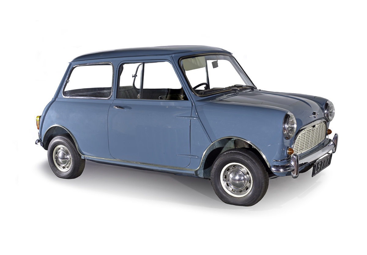 T.1990.28 - Morris Mini-Minor motor car, registration LS7717, blue with original black and grey seats and fleck trim, designed by Alex Issigonis, built 12th - 13th August 1959 at Cowley, England and registered in Galashiels, Scotland.