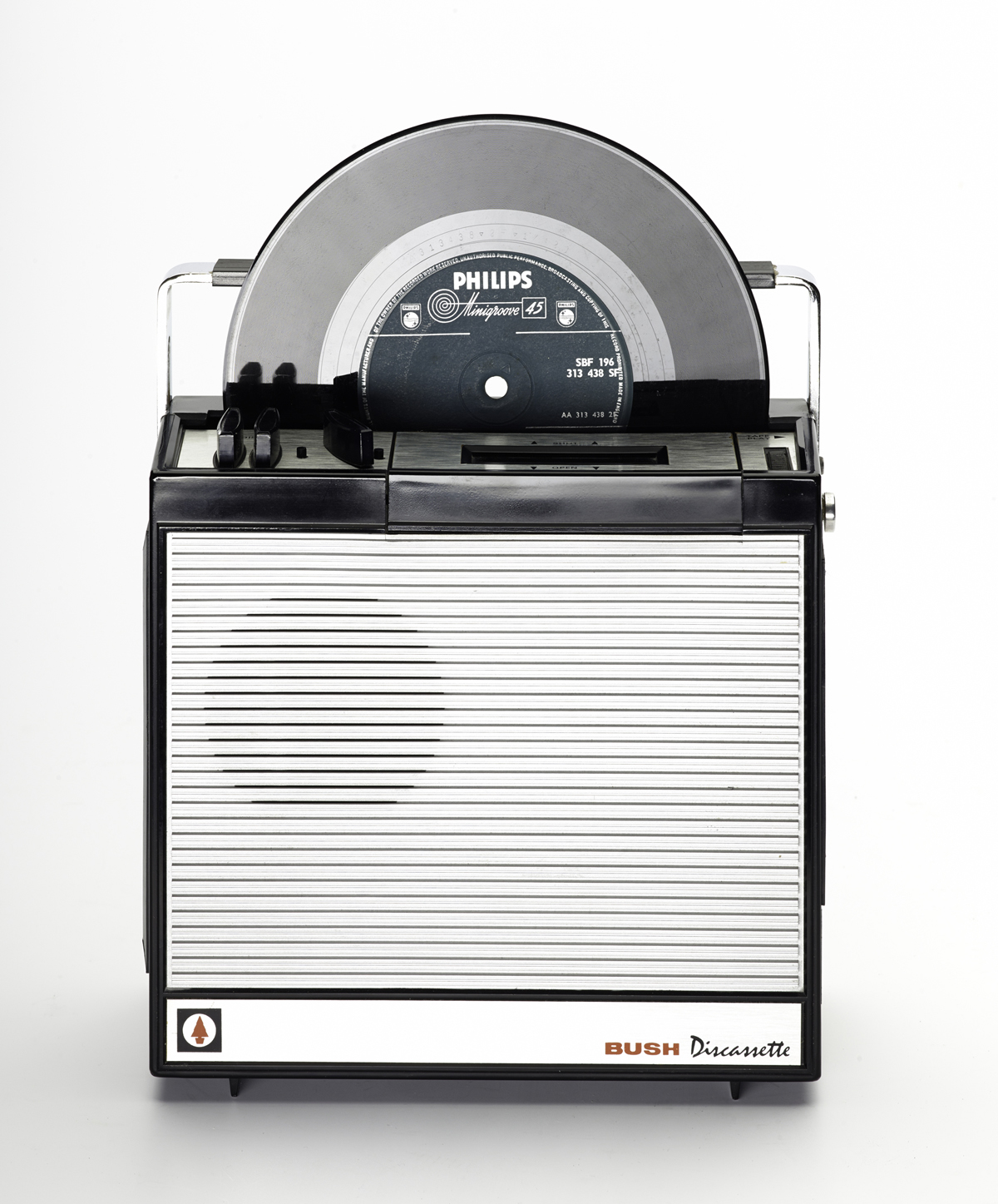 T.1998.142 - Discassette DC70 portable 7 inch single and compact cassette player, powered by internal batteries or external transformer, by Discatron Ltd, member of the Rank Organisation, England, c. 1970.