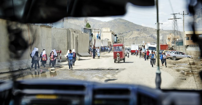 The view from a British army vehicle during the school run in Kabul © Robert Wilson