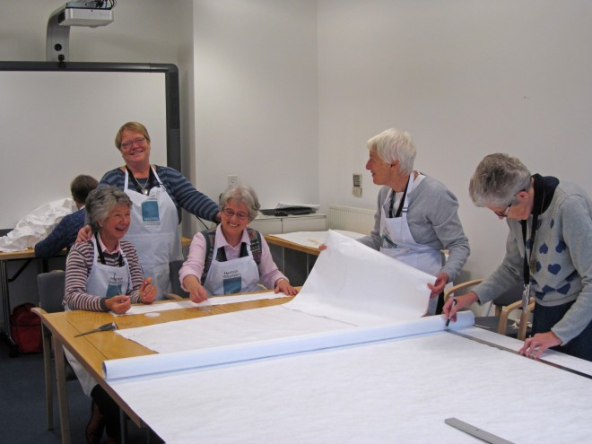 National Museums Scotland volunteers of the Edinburgh Decorative Fine Arts Society working on new cushions.