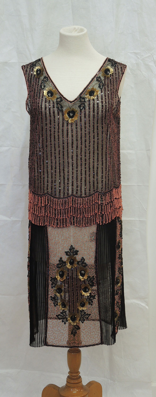 The beaded dress after conservation.
