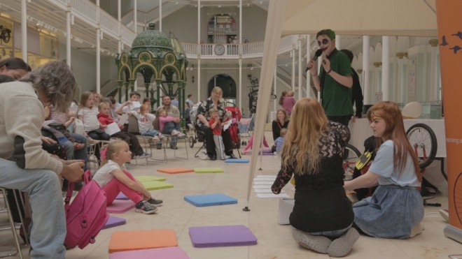 Pupils from Braeview Academy performing the 'Super Science Sleepover' at the National Museum of Scotland.