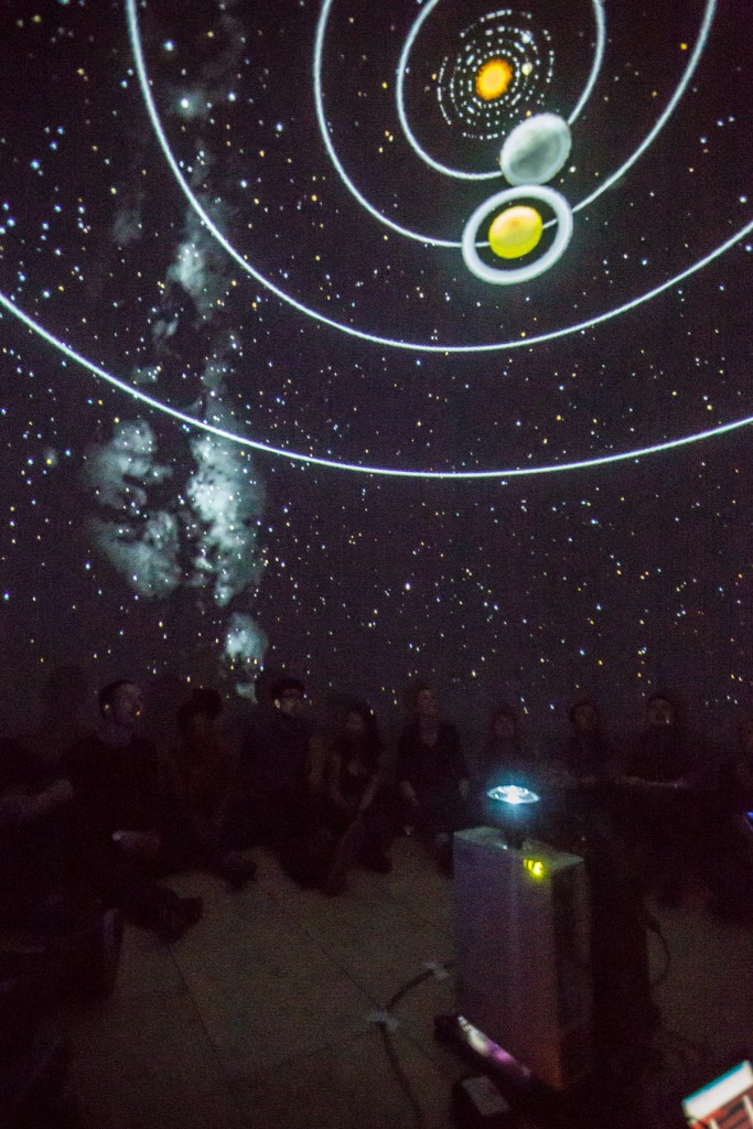 A tour of the solar system in the inflatable planetarium. Image © Chris Scott