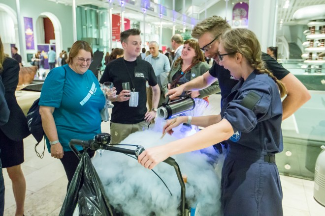 Time for space desserts – liquid nitrogen sorbet with astronauts Nic and Craig. Image © Chris Scott