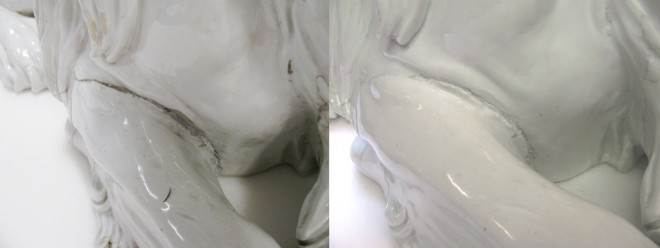 Firing crack on right front leg before and after treatment