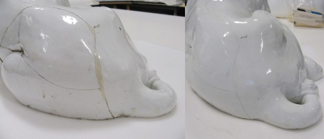 Repairs before and after conservation around the lion's tail