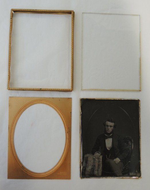 From clockwise top left: Preserver; Protective glass; Daguerreotype; passe-partout