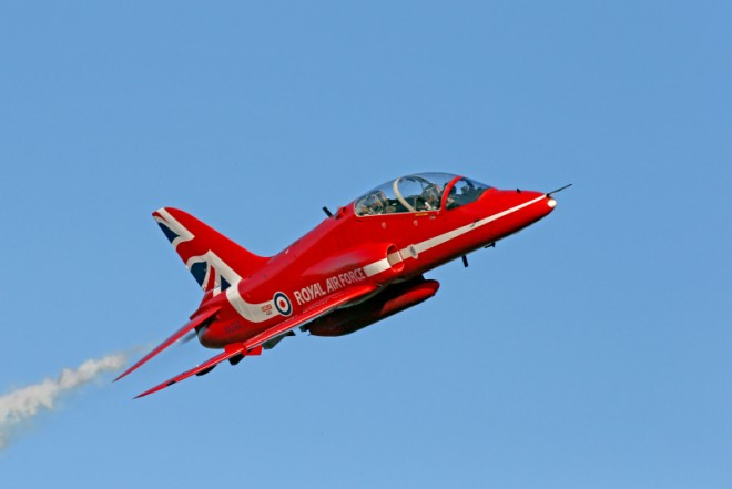 RAF Red Arrows Hawk jet displaying 51st season livery © MOD Crown Copyright