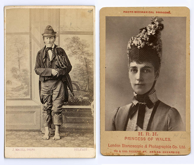 Cartes-de-visite of Jimmy Blukes (left) and Princess Alexandra of Denmark.