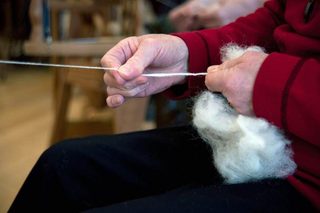 Nancy Wilson spinning yarn, Broughton village hall, Scottish Borders, Alicia Bruce, 2013