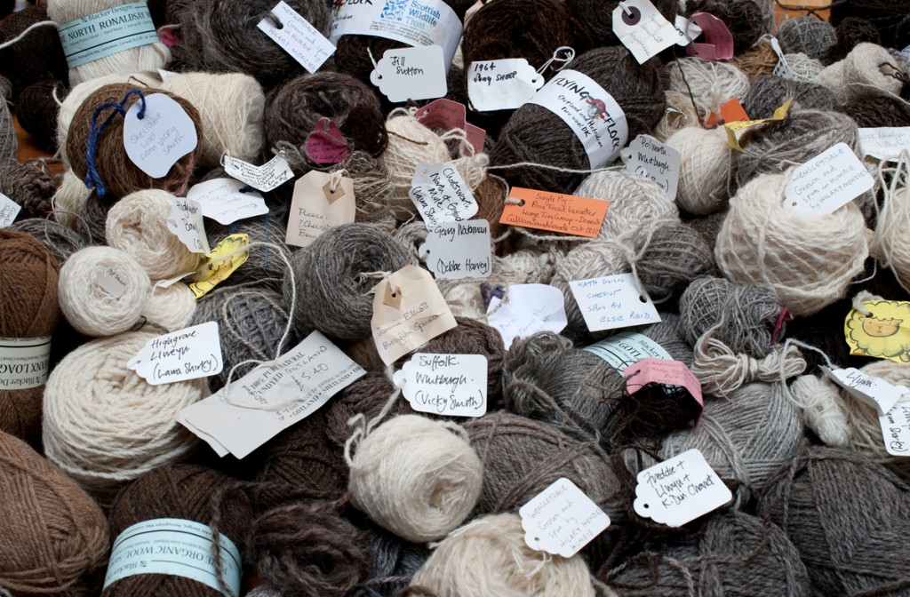 A small sample of un-dyed wools with labels from producers and spinners throughout the UK which were used in the tapestry, Dovecot Studios, Edinburgh, Alicia Bruce, 2013