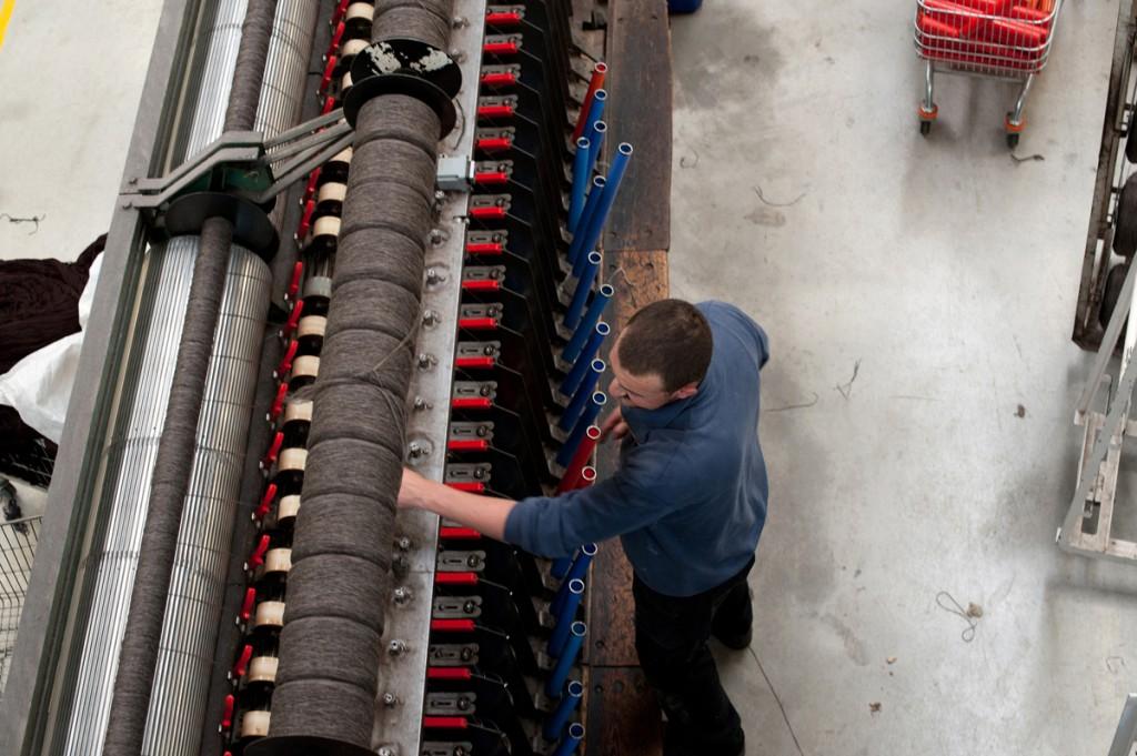 Spinning yarns at The Natural Fibre Company mill, Launceston, Cornwall, Alicia Bruce, 2013