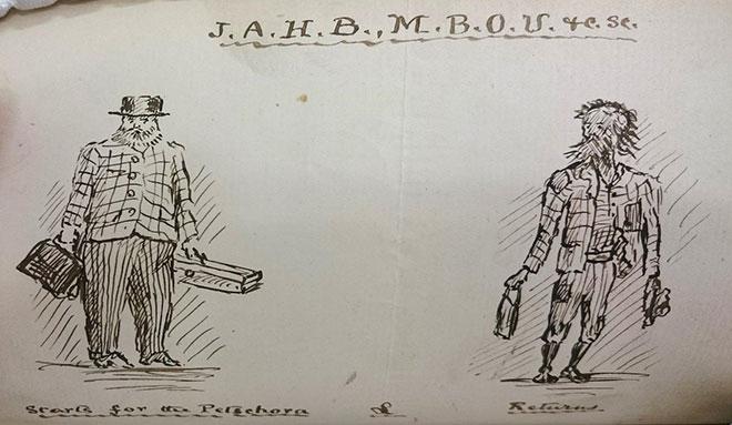 Comical sketch by John Harvie-Brown (1844-1916)