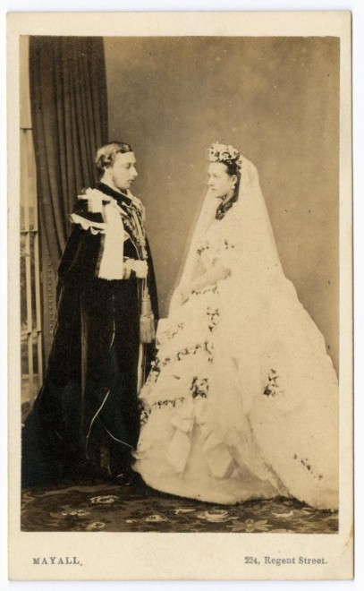 Carte-de-visite depicting HRH the Prince (later King Edward VII) and Princess Alexandra of Denmark on their wedding day, by John Jabez Edwin Mayall, London, 1863. From the Howarth-Loomes collection at National Museums Scotland.