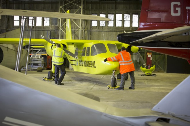 Moving the Britten Norman Islander into temporary storage at National Museum of Flight