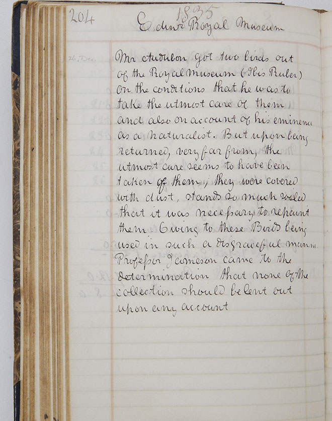 Page from the records of the Natural History Department, dated 1835