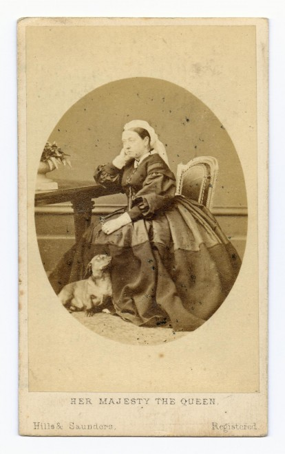 Carte-de-visite by Hills & Saunders of Eton & Oxford, depicting Queen Victoria with a dachshund. From the Howarth-Loomes collection at National Museums Scotland.