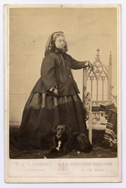 Carte-de-visite, taken in 1866 by W. & D. Downey or Newcastle upon Tyne, depicting Queen Victoria with her collie Sharp. Sharp lived with Queen Victoria at Windsor Castle, and accompanied her everywhere. From the Howarth-Loomes collection at National Museums Scotland.
