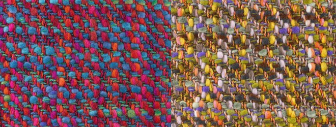 Woven women's fashion samples, entitled Aurora (1965) and Festival (1967)
