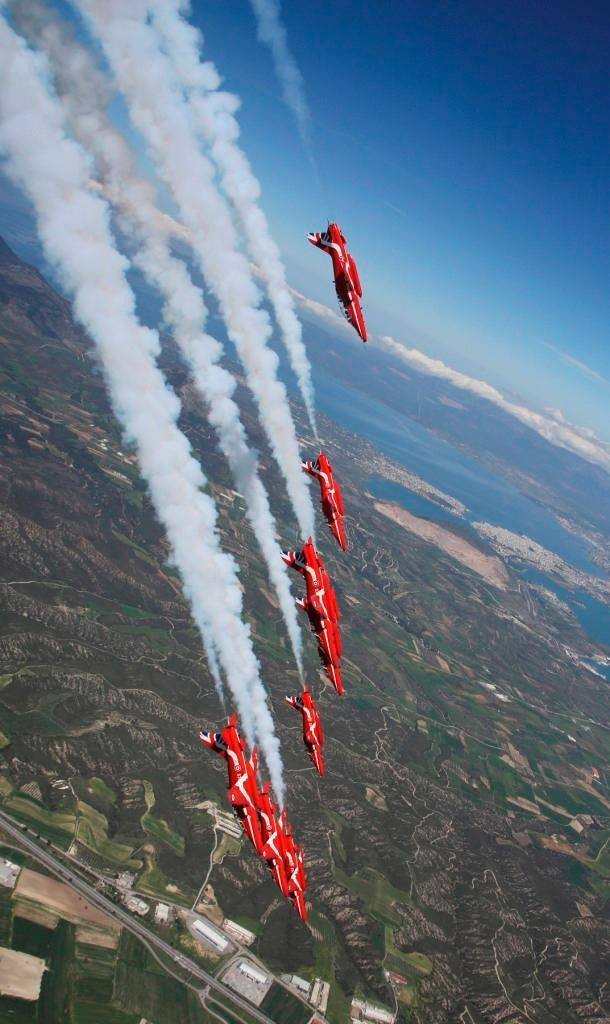 Taking a nose dive during RAF Red Arrows training