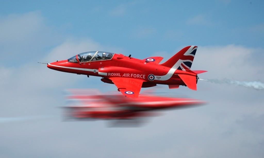 Single hawk during RAF Red Arrows Springhawk 2015 training in Greece.