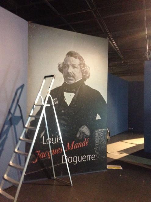 The Louis Daguerre wallpaper being installed