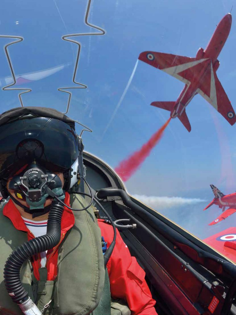 Inside the cockpit of a Hawk jet with the RAF Red Arrows