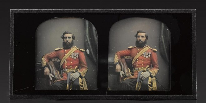 Stereo daguerreotype, depicting a portrait of man wearing a red military uniform adorned with medals, suggesting the rank of Cavalry Major, hand-coloured, by Antoine Claudet, 1855 - 1858