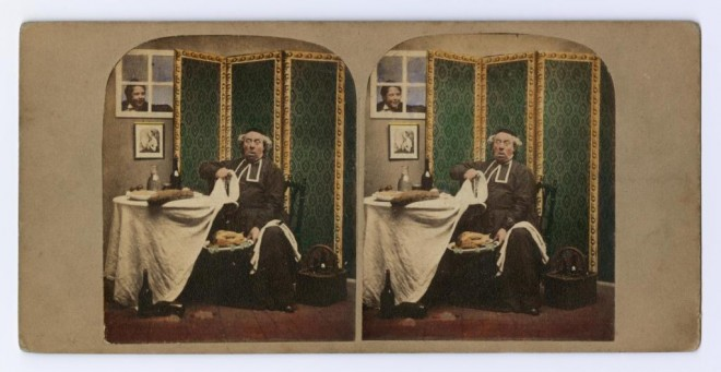 Stereocard depicting a Catholic priest caught eating meat on a fast day, by Martin Laroche, c. 1856