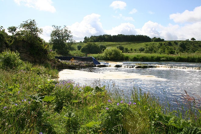 Looking back at the site on the River Whiteadder.