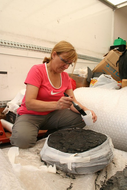 Vicen preparing a specimen for transporting