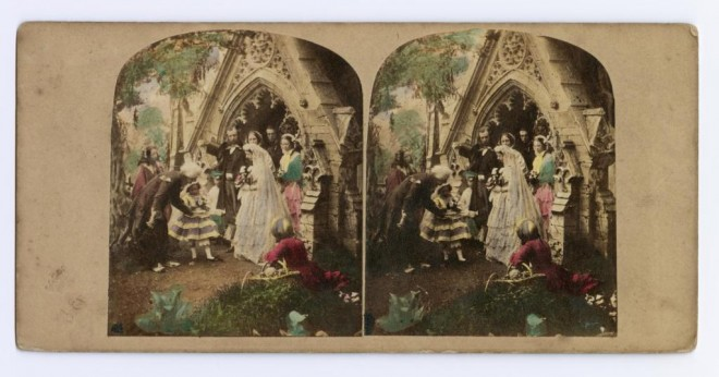 Coloured stereocard entitled 'Happiest Day of my Life' depicting newlyweds in a church doorway, by James Elliott, London