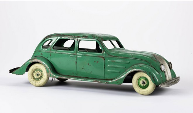 Toy car by Kingsbury, representing an American streamlined car and based on the Chrysler Airflow of c.1934.