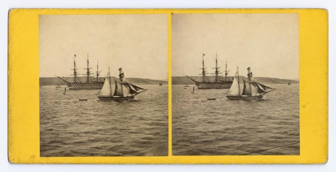 Stereocard depicting HMS Royal Albert in the Firth of Forth, by George Washington Wilson & Co., Aberdeen, 1860. From the Howarth-Loomes Collection at National Museums Scotland.