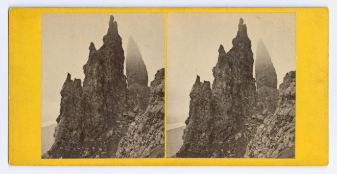 Stereocard depicting the Old Man of Storr, Skye by George Washington Wilson & Co., Aberdeen. From the Howarth-Loomes Collection at National Museums Scotland.