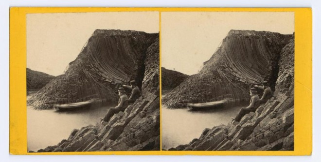 Stereocard depicting two men and a boat outside Clamshell Cave, Staffa, by George Washington Wilson & Co., Aberdeen Clamshell Cave, Staffa