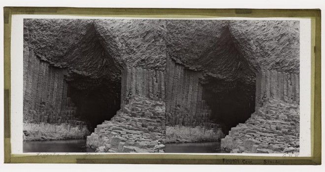 Stereograph of Fingal's Cave Staffa, by G.W. Wilson, Aberdeen, 1870s - 1880s. From the Howarth-Loomes Collection at National Museums Scotland.