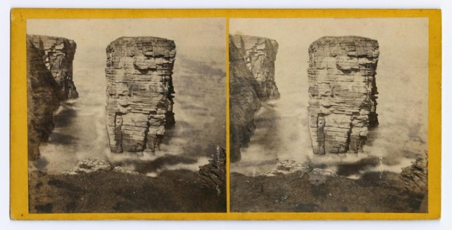 Stereocard depicting The 'Clett', Holborn Head, Thurso by an unknown photographer, 1870s. From the Howarth-Loomes Collection at National Museums Scotland