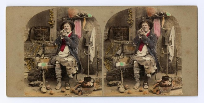 Stereocard depicting The Troubles of Single Life, by Michael Burr, 1865
