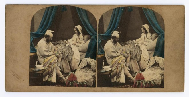 Stereocard depicting the coloured comic 'Three o'clock in the Morning' by Alfred Silvester, c. 1850 -1860