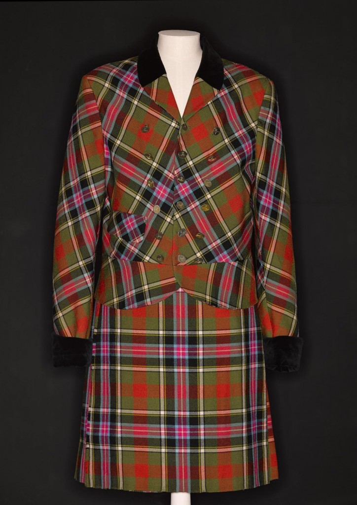 Men's double-breasted jacket and kilt in Bruce of Kinnaird tartan manufactured by Lochcarron of Scotland, designed by Vivienne Westwood for her Anglomania collection, London, A/W 1993.