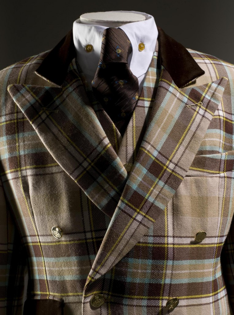 Men's 3-piece suit of brown, beige and turquoise wool tartan by Lochcarron of Scotland, designed by Vivienne Westwood during the mid-1990s.