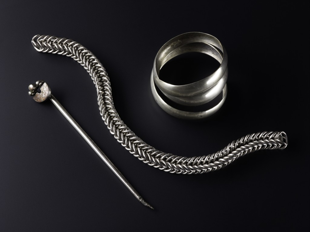 The silver handpin, bangle and chain found during the 19th century at Gaulcross