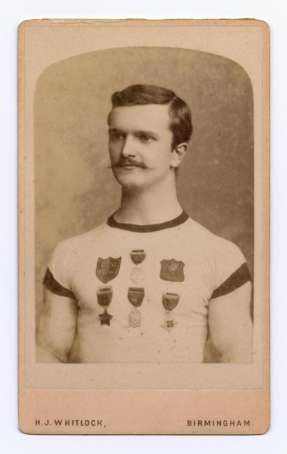 Carte-de-visite depicting athletic man wearing medals by Joseph Whitlock, Birmingham